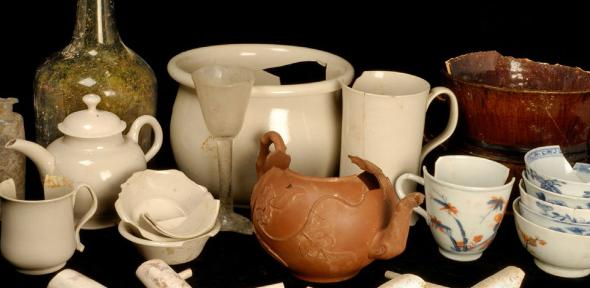 The finds from Clapham's Coffee House, some of which are pictured here, included teapots, wine glasses, and clay pipes. (Image: Cambridge Archaeological Unit)  Credit: Cambridge Archaeological Unit