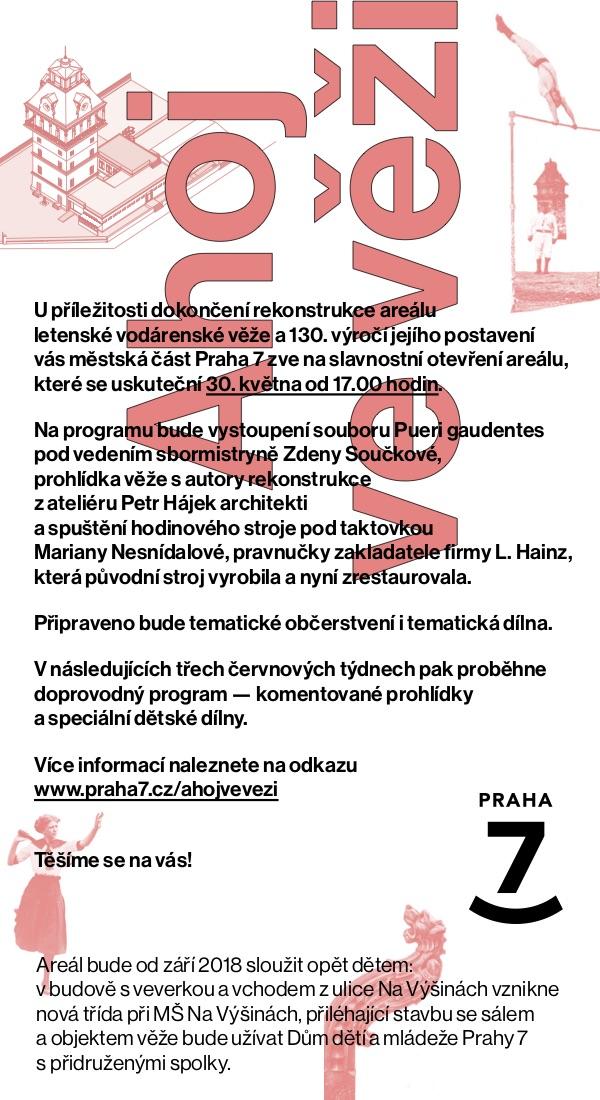 Znovuotevření Letenské Vodárenské Věže.