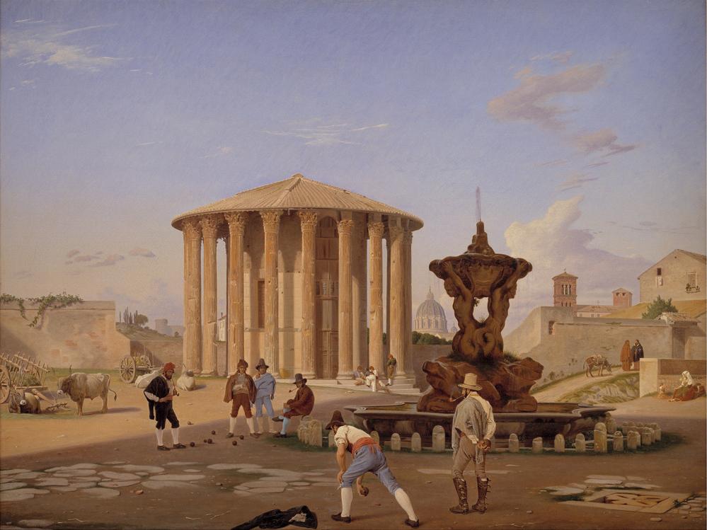 Constantin Hansen (1804-1880), Det saakaldte Vestatempel med dets omgivelser i Rom, 1837