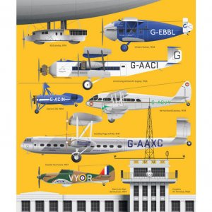London Aviation Illustration Poster