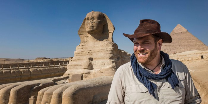 The Giza Pyramid Sphinx, Josh Gates, Expedition Unknown Foto: Discovery Channel