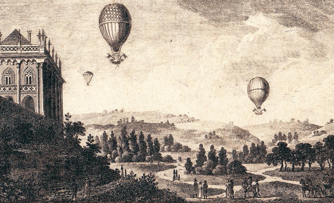 Balony nad Královskou oborou. Autor neznámý, lept, před 1811, SK, inv. č. GS 7538