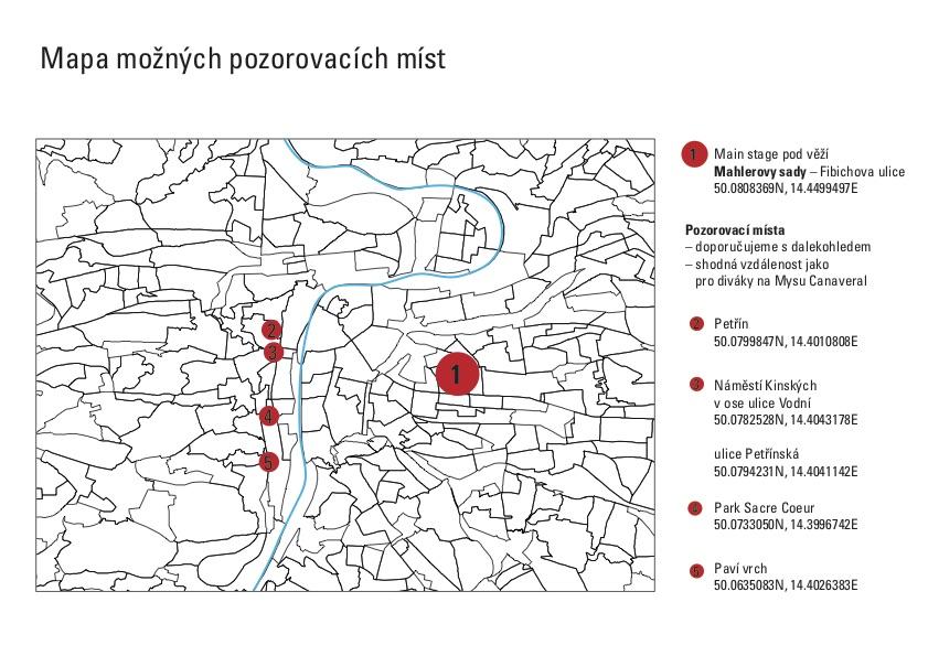 Mapa pozorovacích míst