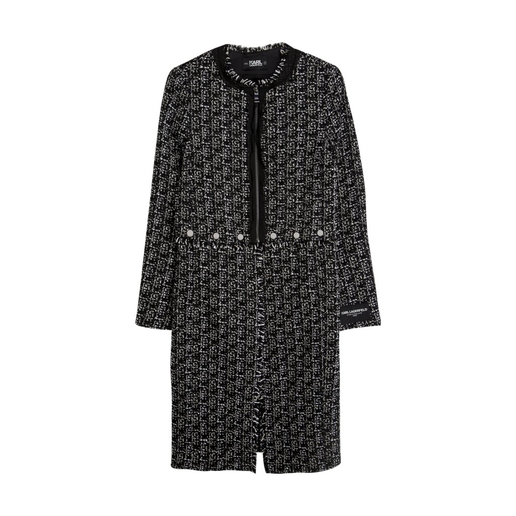 KARL FW19 KL X OLIVIA PALERMO PI KL X OLIVIA PALERMO Long Transformer Boucle Coat 96KW1406 17933 LoRes