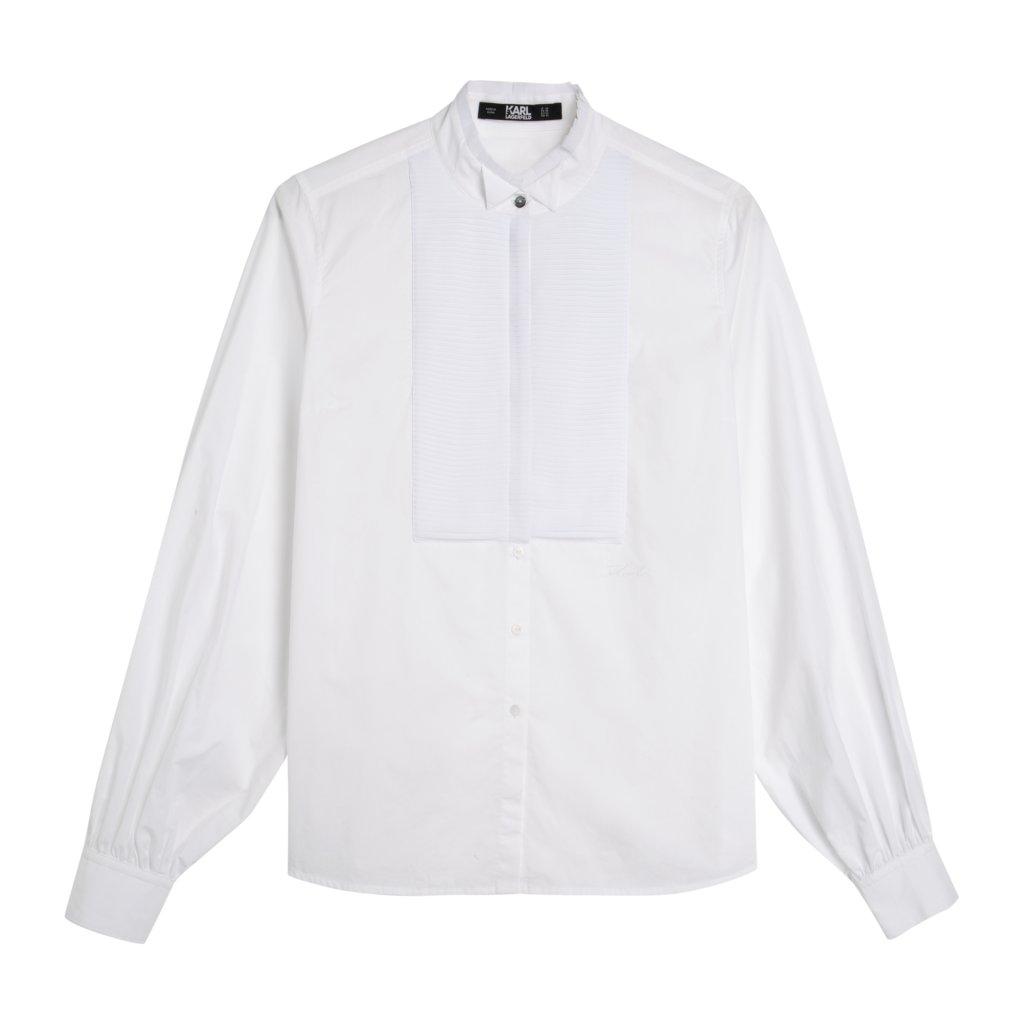 KARL FW19 KL X OLIVIA PALERMO PI KL X OLIVIA PALERMO Pleated Plastron Poplin Shirt 96KW1600 17936 LoRes