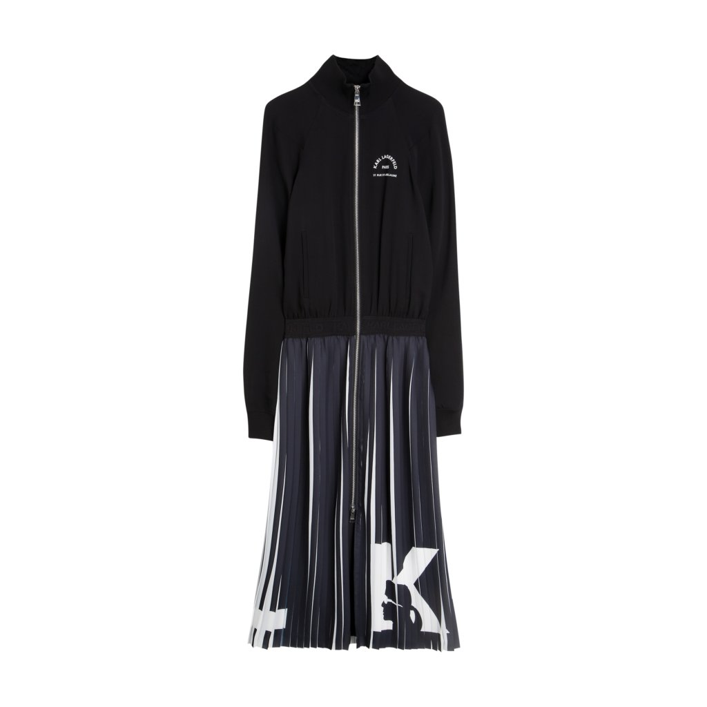 KARL FW19 KL X OLIVIA PALERMO PI KL X OLIVIA PALERMO Rue Saint Guillaume Pleated Dress 96KW1302 17938 LoRes
