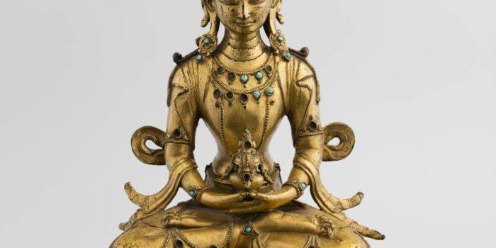 Amitájus, Západní Tibet, 17. Století,zlacený Bronz Vykládaný Tyrkysy, V. 28 Cm, Inv. č. Vp 320, Foto NG