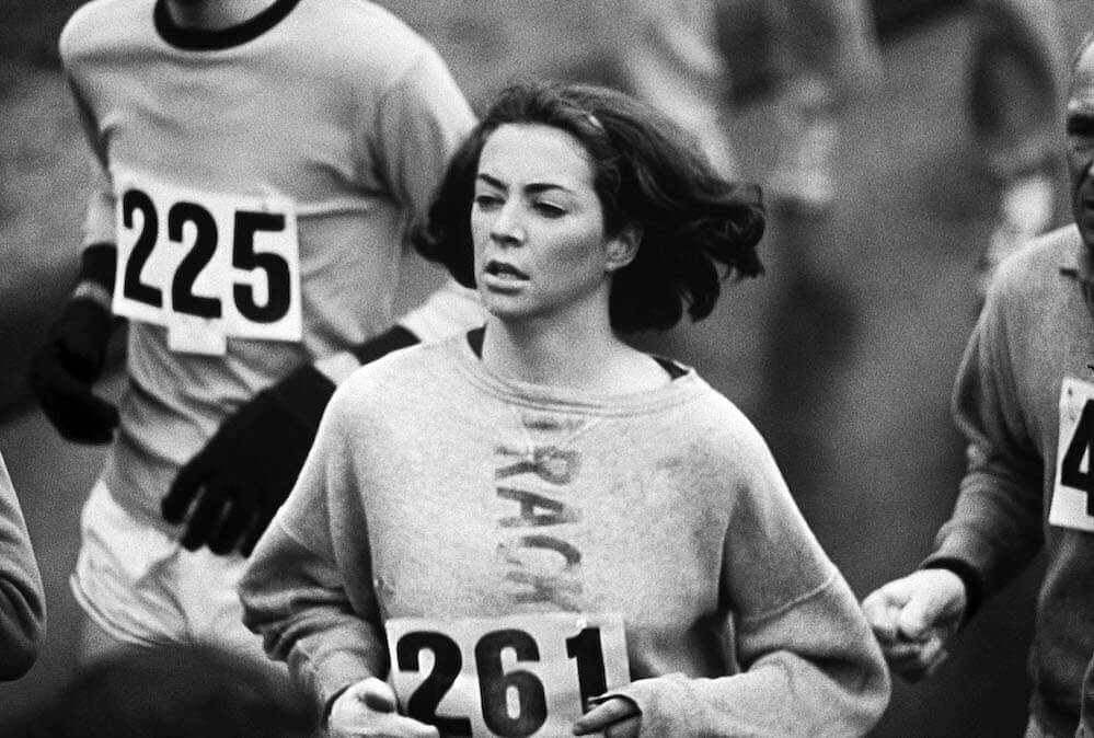 Track & Field: Boston Marathon: USA Kathrine Switzer (261) in action during race. Women were not officially included in the race until 1972.  Ashland, MA 4/19/1967 CREDIT: Walter Iooss Jr. (Photo by Walter Iooss Jr. /Sports Illustrated via Getty Images/Getty Images) (Set Number: X12351 TK1 )