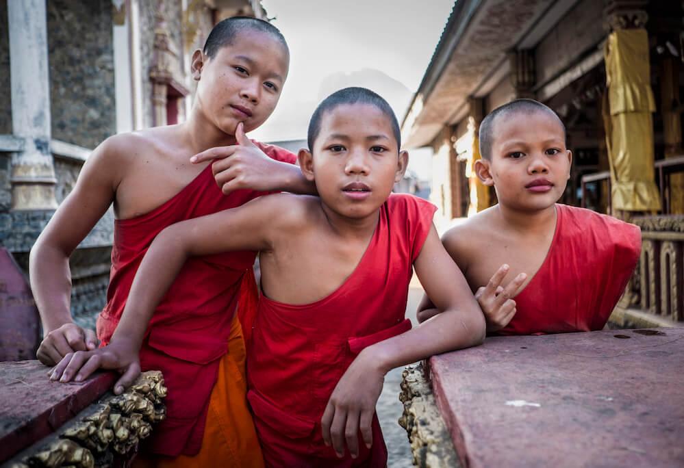 Boisterous novice monks in Vang Vieng Laos