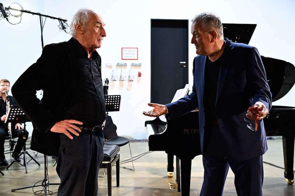 Frederic Rzewski a Petr Kotík, Ostrava 2019, foto Ostravské centrum nové hudby