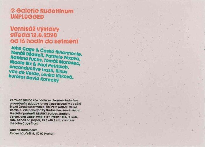 Rudolfinum Zve Na Environmentální Výstavu UNPLUGGED