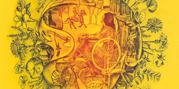 Zlatý Kolovrat I, KYTICE, (yellow), Etching, 56x64cm, 2020