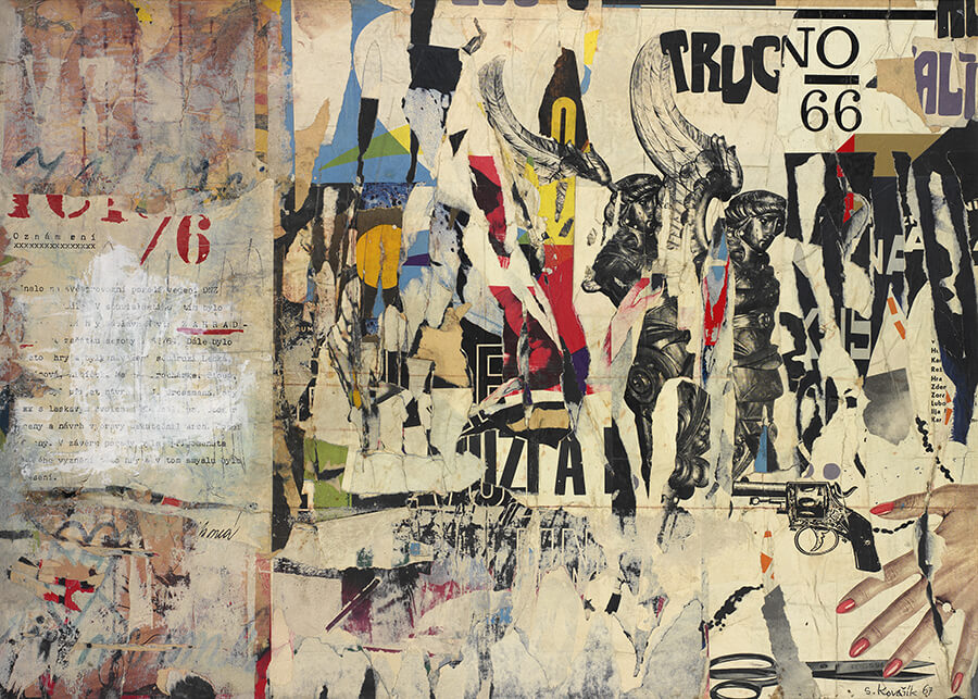 Kovařík Slavoj, O 2178, Oznámení o Ikarově letu   1967, kombinovaná technika, sololit, v.94,5 cm, s.131,5 cm, sign.: vpravo dole: S. Kovařík 67