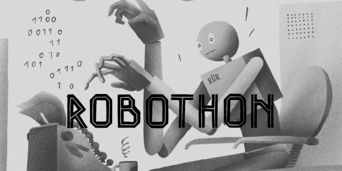 Robothon Vizuál S Nápisem Robothon Menší