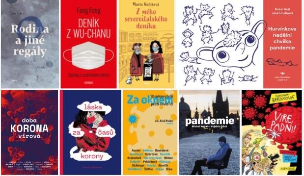 Obálky knih o koronaviru, koláž pš