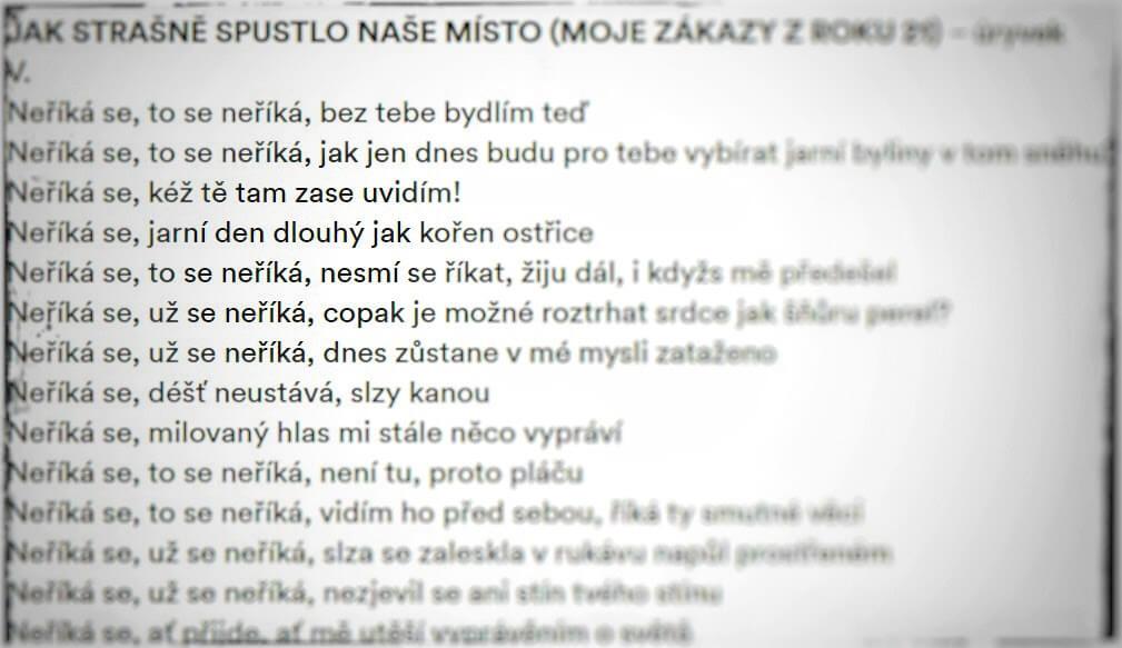 Petr Borkovec: Jak strašně spustlo naše místo (moje zákazy z roku 21) - úryvek. Foto © Galerie Rudolfinum.