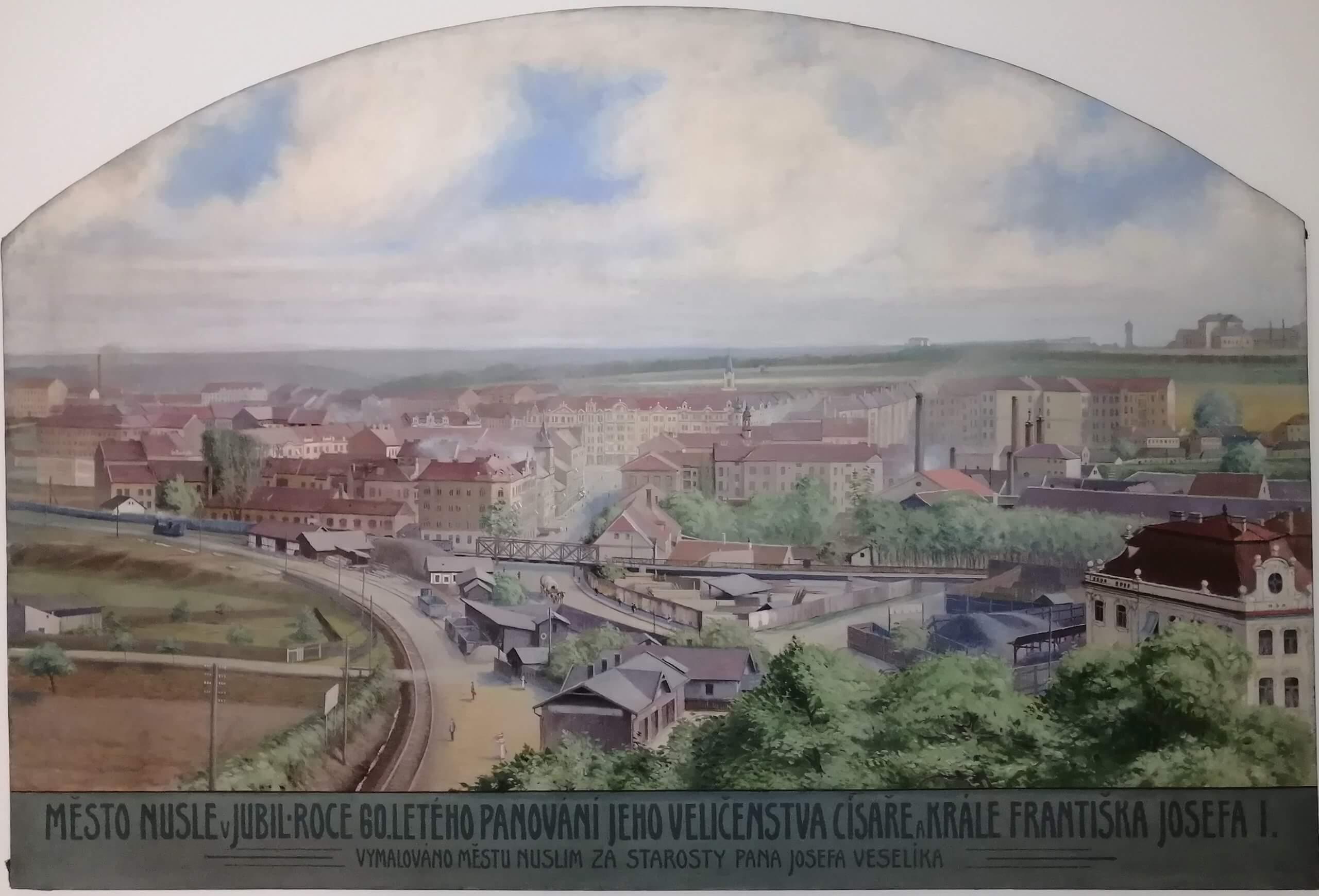 Anonym, Pohled na Nusle, olej na plátně 1908, MMP