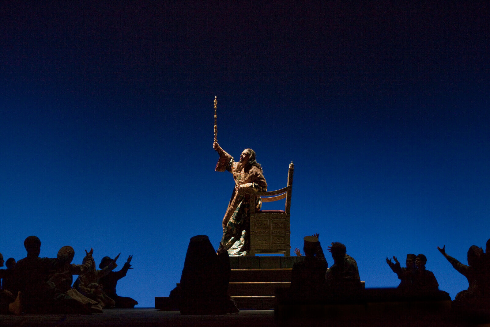 A scene from MussorgskyÕs ÒBoris GodunovÓ with RenŽ Pape as the title role.  Photo: Ken Howard/Metropolitan Opera    Photo taken during the rehearsal at the Metropolitan Opera in New York City on October 6, 2010.